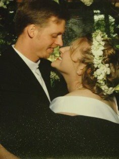 Wedding day googly eyes. We were 21 and 23.